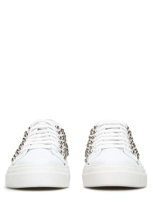 Beyaz Silver Troklu Kadın Deri Sneaker