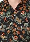 Siyah Tropikal Desenli Yarım Kollu Gömlek