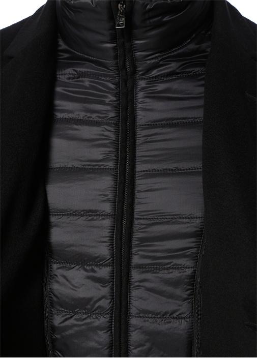 Siyah Kelebek Yaka Kapitone Detaylı Kaşmir Palto