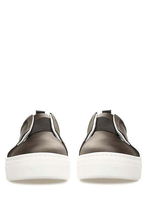 Haki Lastik Detaylı Kadın Deri Sneaker