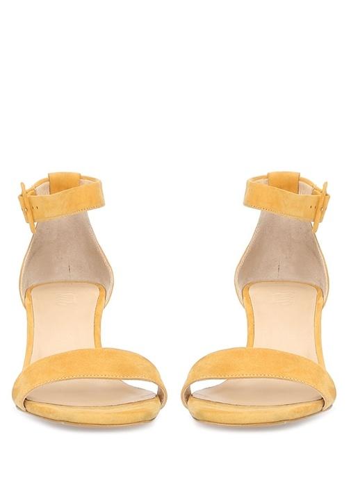 Sarı Topuk Detaylı Kadın Süet Sandalet