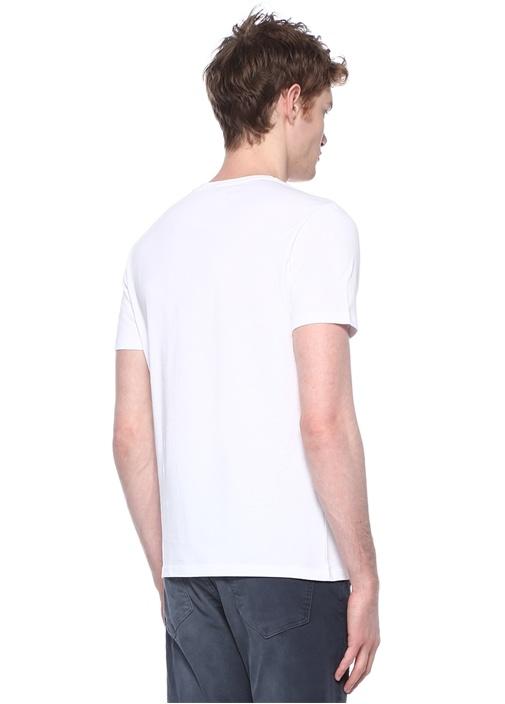 Beyaz Mavi Bisiklet Yaka Çizgi Bloklu T-shirt