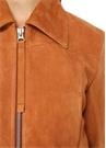 Taba Açık Yaka Fermuarlı Süet Ceket