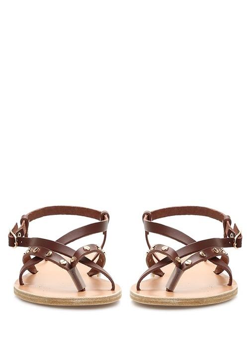 Smele Nails Taba Trok Detaylı Kadın Deri Sandalet