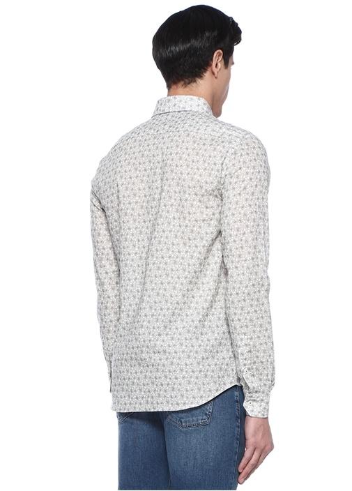 Slim Fit Haki Çiçek Desenli Gömlek