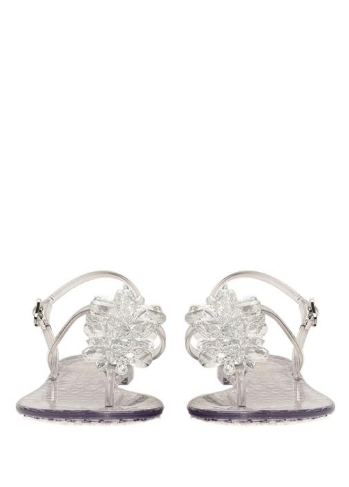 Eris Şeffaf Boncuk Detaylı Kadın Deri Sandalet