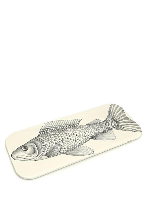 Pesce Siyah Dikdörtgen Formlu Baskılı Ahşap Tepsi
