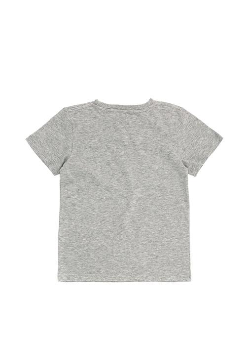 Gri Melanj Baskılı Erkek Çocuk Basic T-shirt