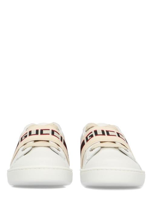 Beyaz Bantlı Unisex Çocuk Deri Sneaker