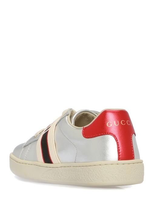 Silver Bantlı Kız Çocuk Deri Sneaker