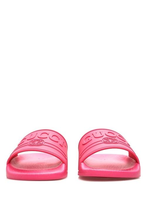 Fuşya Kabartmalı Logolu Kız Çocuk Terlik