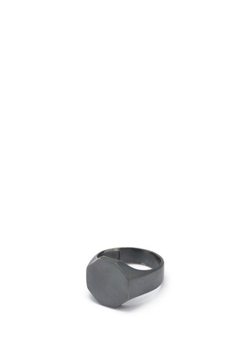 Siyah Sekizgen Formlu Erkek Gümüş Yüzük