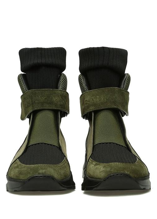 Siyah Haki Çorap Formlu Ribli Erkek Deri Sneaker