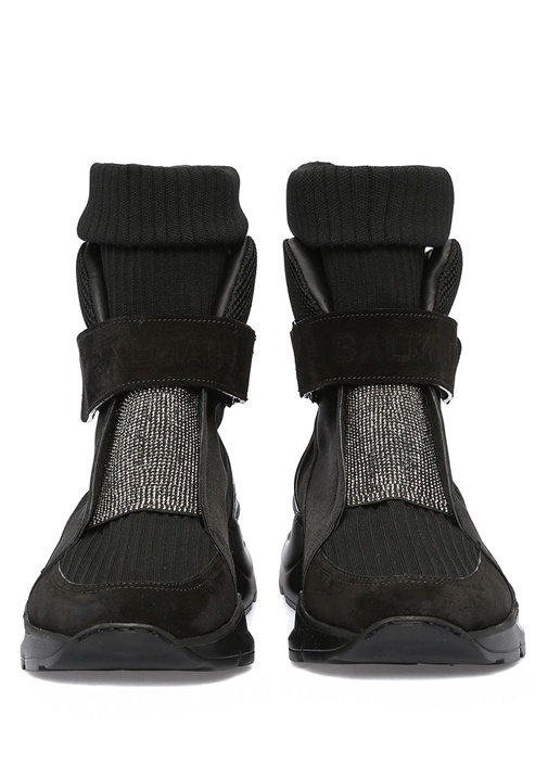 Siyah Taş Detaylı Çorap Formlu Erkek Deri Sneaker