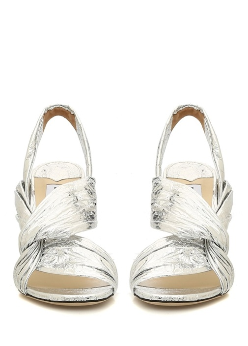 Lalia Silver Düğüm Detaylı Kadın Deri Sandalet