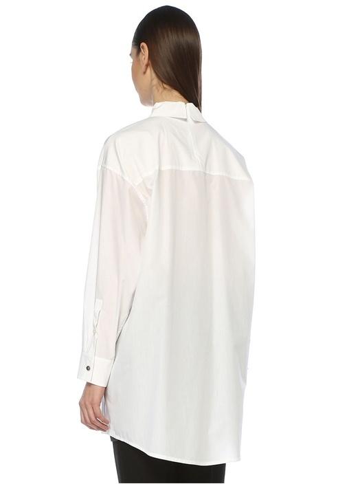 Beyaz Düğmeli Bol Koton Tunik