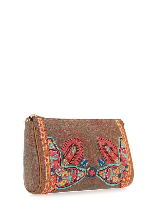Kahverengi Etnik Desenli Nakışlı Kadın Çanta