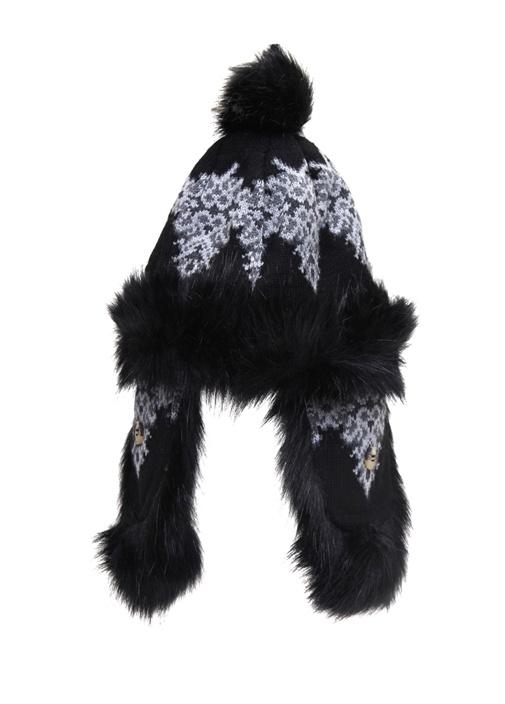 Siyah Desenli Shearling Detaylı Kadın Bere
