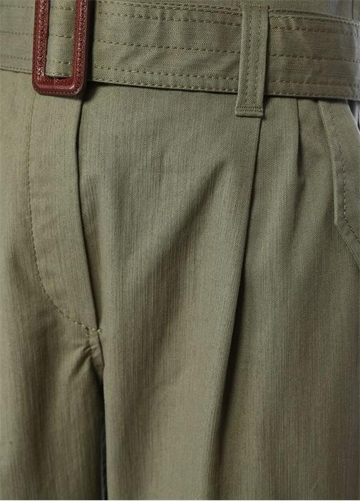 Haki Yüksek Bel Kemerli Kargo Pantolon