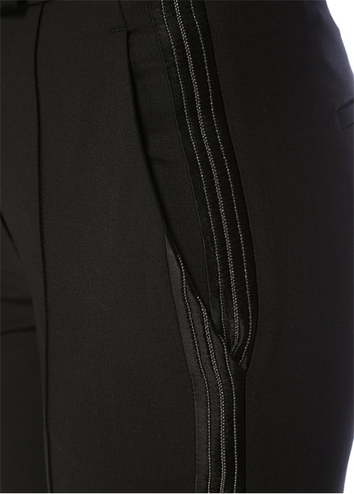 Siyah Yanı Zincir Şeritli Yün CigarettePantolon