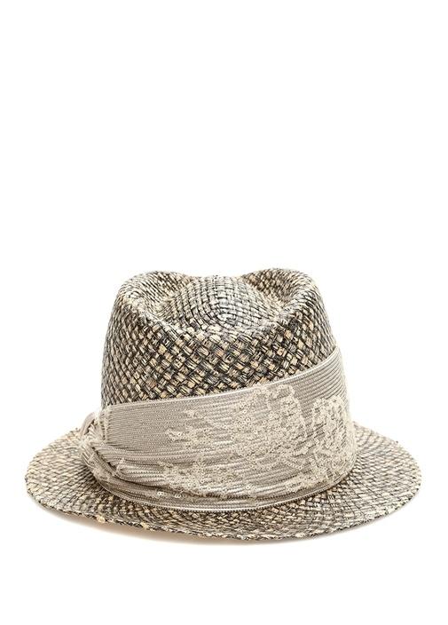 Bej İşlemeli Bantlı Kadın Şapka