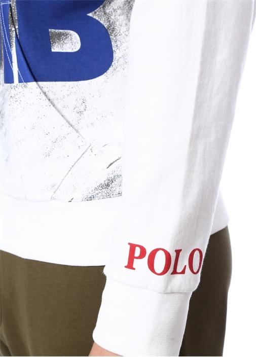 Hi Tech Beyaz Kapüşonlu Baskılı Sweatshirt