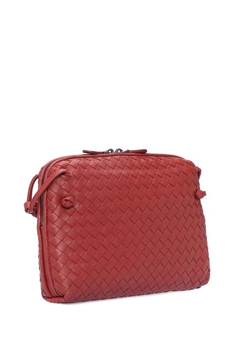 Nodini Kırmızı Örgü Dokulu Kadın Deri Çanta