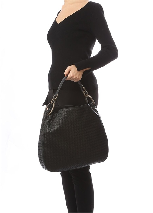 Siyah Örgü Dokulu Kadın Deri Hobo Çanta