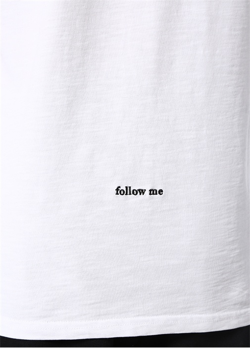Follow Me Beyaz Basic T-shirt