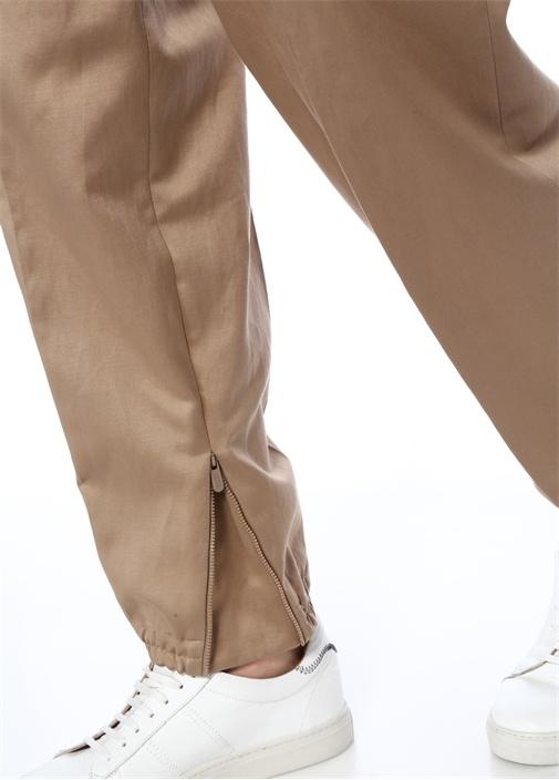 Bej Dekoratif Dikişli Jogger Pantolon