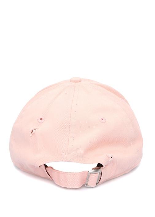 Pembe Nakışlı Yıpratma Detaylı Kadın Şapka