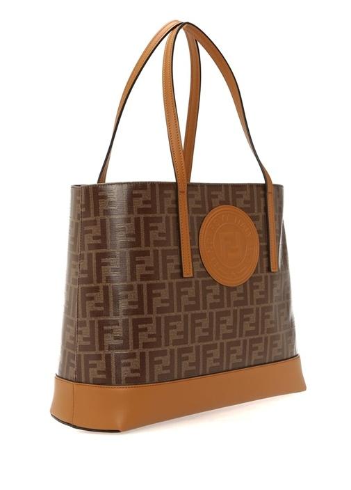 Kahverengi Taba Logolu Kadın Alışveriş Çantası