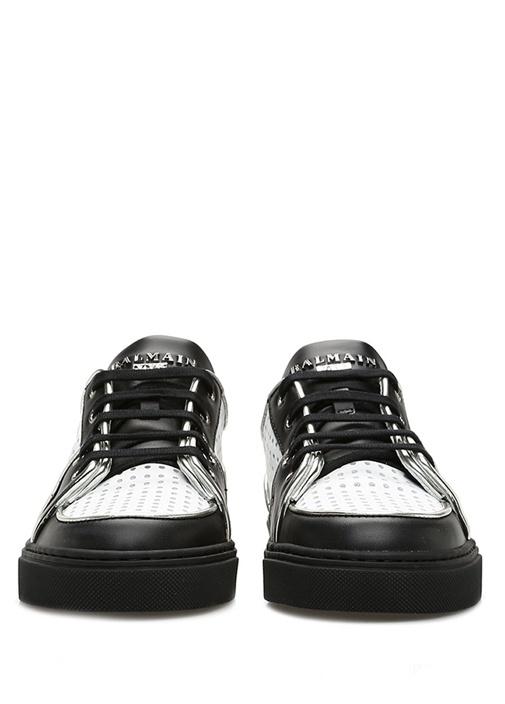 Siyah Beyaz Delik Desenli Kadın Deri Sneaker