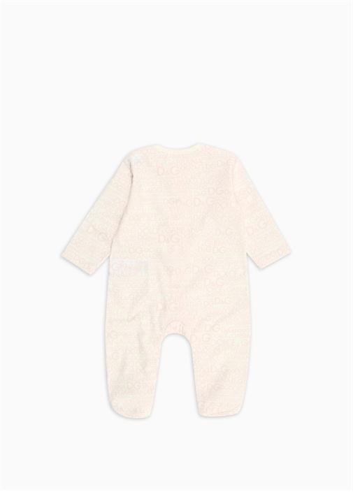 Pembe Beyaz Logo Baskılı Kız Bebek Tulum Seti