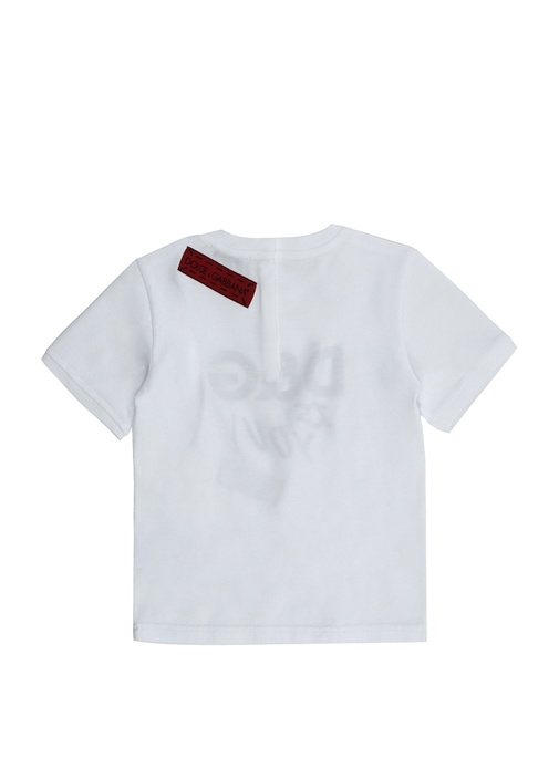 Beyaz Bisiklet Yaka Logolu Kız Bebek T-shirt