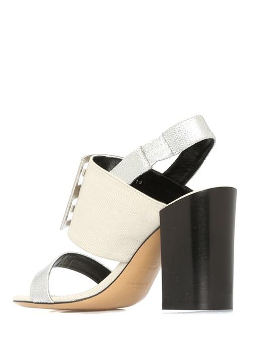 4G Metalik Silver Kanvas Garnili Kadın Sandalet