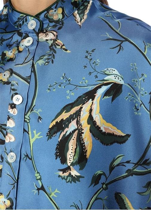 Noto Mavi Çiçek Desenli Oversize İpek Tunik