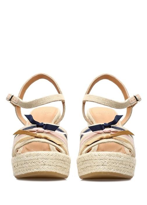 Halle Bej Renkli Fiyonklu Kadın Keten Sandalet