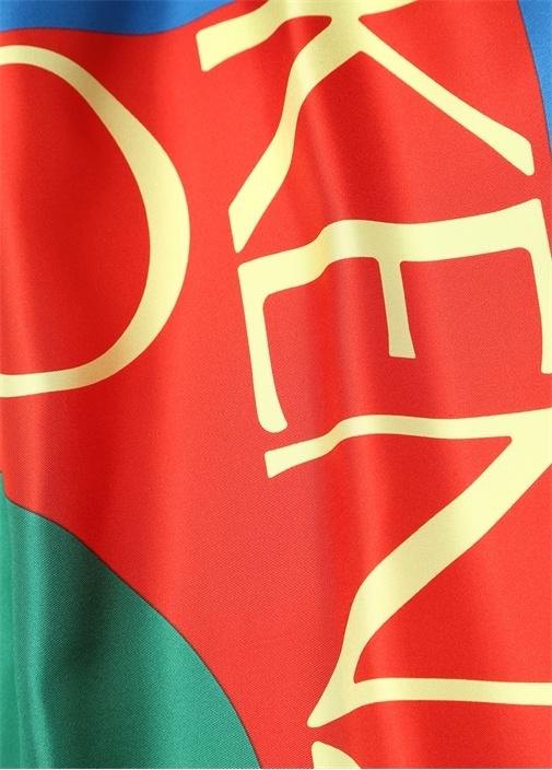 Lacivert Kırmızı Logo Baskılı Kadın İpek Şal