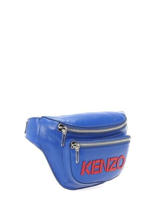 Mavi Kırmızı Logo Nakışlı Kadın Deri Bel Çantası
