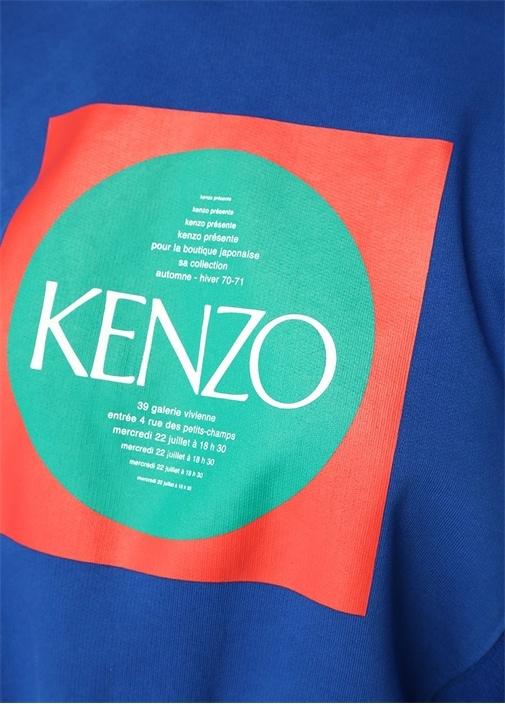 Mavi Kapüşonlu Grafik Logo Baskılı Sweatshirt