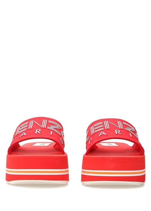 Papaya Kırmızı Logo Baskılı Kadın Terlik