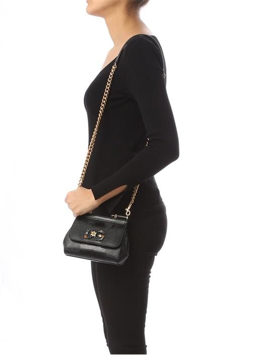 Small Sicily Siyah Taşlı Logolu Kadın Deri Çanta