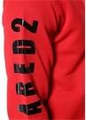Kırmızı Kapüşonlu Kolu Logo Baskılı Sweatshirt