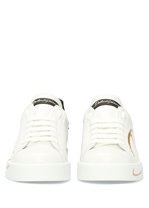 Portofino Beyaz Siyah Kadın Deri Sneaker