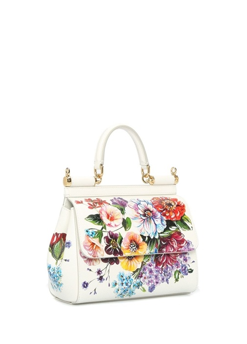 Sicily Small Beyaz Çiçekli Kadın Deri Omuz Çantası