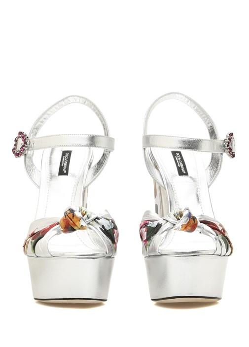 Silver Çiçek Desenli Platformlu Kadın Sandalet