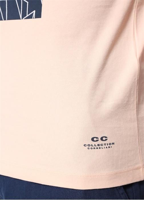 Somon Baskılı Bisiklet Yaka Basic T-shirt