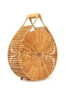 Bej Yuvarlak Formlu Çubuklu Kadın BambuEl Çantası