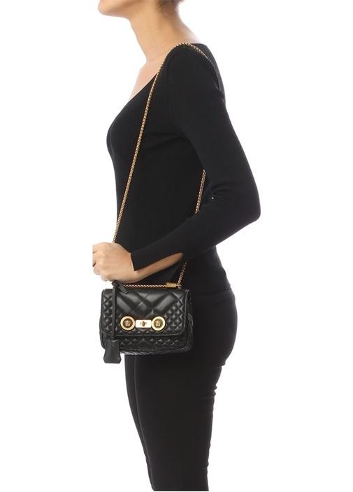 Small Siyah Kapitoneli Kadın Deri Çanta